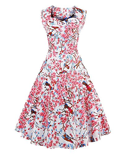 YiLianDa Donne Vintage 50s Rockabilly Swing Floreale Senza Maniche Vestito Cocktail Sera Gonna Bianco