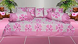 India Furnish 100% Cotton Flower Design Single Bedsheet Set with 2 Bolster Covers & 5 Cushion Covers Pink Color