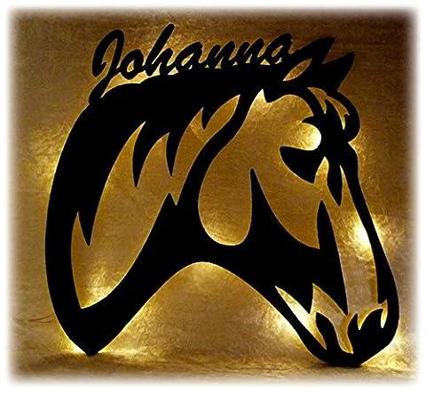 Schlummerlicht24 Led 3d Holz Design Motiv Elektronik Lampe Pferde-Kopf Deko-ration Horse Pferd Geschenk-e mit Name-n für Frauen Mädchen Kind-er Junge-n Frau Zimmer-Einrichtung (Ein Ganz Besonderes Geburtstagsgeschenk)