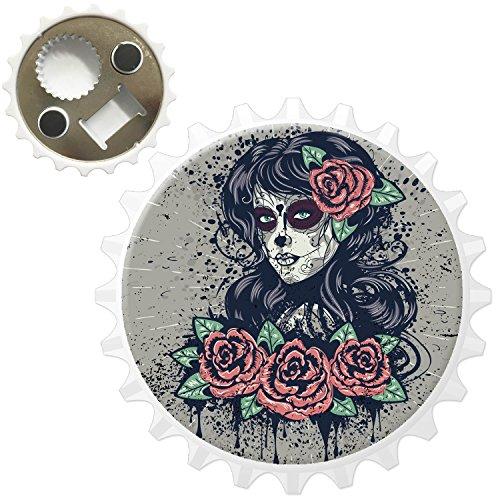 ge Tag der Toten Frau mit Rosen im Haar Kühlschrankmagnet mit Flaschenöffner ()