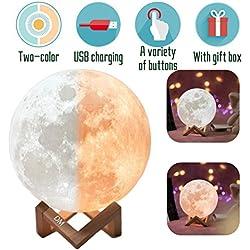 3D lampada luna LED Moon Lamp White / Caldo Dimmable Toccare Controllo Della Luminosità Night Light Luna con USB Caricamento e Monte di Legno, Miglior Regalo per 一 With gift box(20CM)