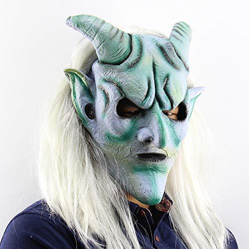 Halloween Maske Ghost Latex Maske Silver Horn King Hood Verkleidung Streich Halloween Kostüm Realistisches Silikon (Silver Ghost Kostüm)