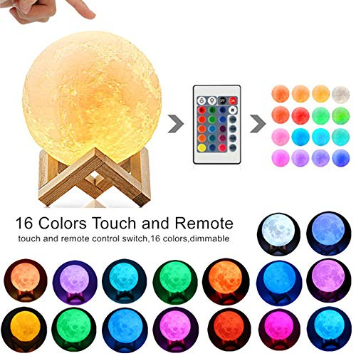 Mondlicht 3D Print Moon Globe Lampe, 3D Glowing Moon Lampe Mit Ständer, Luna Moon Lampe Nachtlicht Für Zuhause Schlafzimmer Dekor Kinder B-16 Farben DIY-18CM