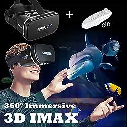 """Casque 3D VR avec de nouvelles lunettes de réalité virtuelle à distance, visionneuse de jeu vidéo avec film en verre VR pour iPhone et Android 4.0 à 6.0 """"Smartphones, noir"""