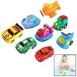 Xrten 8 Stücke Bad Spritzen Spielzeug,Flugzeug Wagen Boat Gummi Badewanne Badespielzeug für Baby