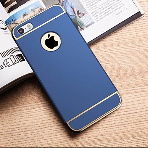 MOONCASE iPhone SE Coque - Placage Détachable Design PC Trois-Pièces Slider Antichoc Etui Rigide Case pour iPhone SE / 5S/ 5 Argent Bleu