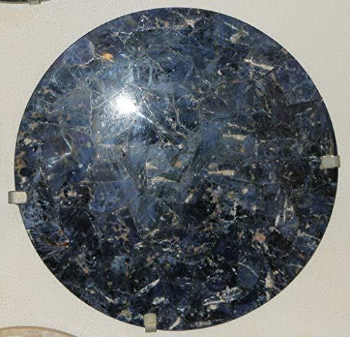 Agata mineral import capolavoro - da tavolo - mosaico in pietra semipreziosa - sodalite blu - diametro 60 cm