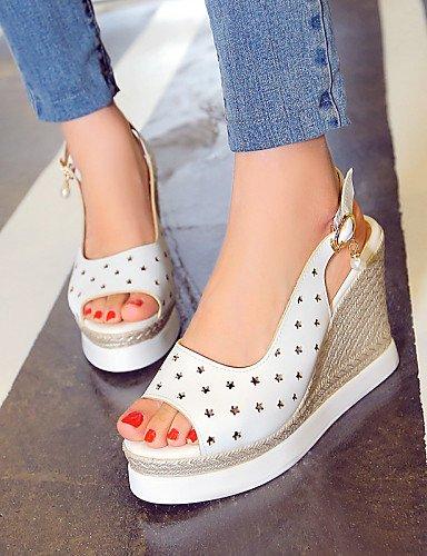 WSS 2016 Chaussures Femme - Extérieure / Habillé / Décontracté - Bleu / Rose / Blanc - Talon Compensé -Compensées / Talons / Bout Ouvert / A white-us8.5 / eu39 / uk6.5 / cn40