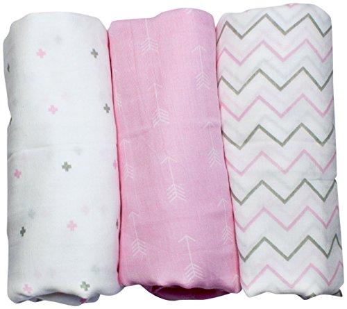 MULLWINDELN aus 100% Musselin Baumwolle für Mädchen von Ziggy Baby - vielseitig einsetzbar z.B als Still- und Pucktuch, Schmusedecke, Wickelunterlage… 3er Pack - 120 x 120 cm groß- rosa und weiß