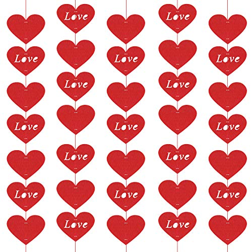 Tuparka 100 pz cuore di san valentino cuore ghirlanda cuore in feltro rosso corda per san valentino decorazione decorazione per la festa nuziale