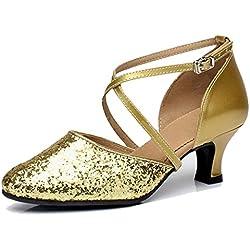 Wgwioo Damen Sequin Cross Strap Leder Hochzeit Ballsaal Latin Taogo Dance Pumps Schuhe . Gold . 43