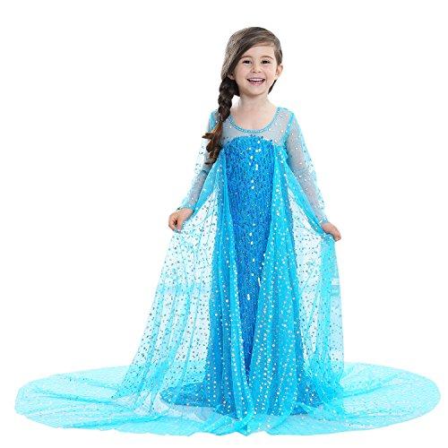 Princess Vestito Principessa Carnevale Festive Bambina Abito Strass Costume Paillettes Azzurro (100)