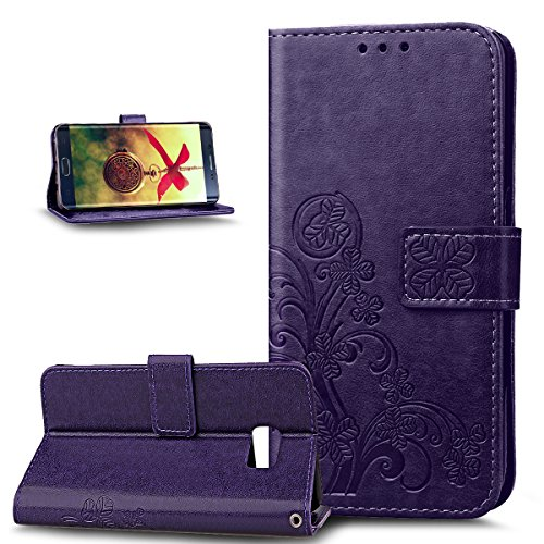 Galaxy S6 Edge Plus Case,Galaxy S6 Edge Plus Cover,ikasus Embossing Clover Flower Floral Pattern Premium PU Leather Fold Wallet Pouch Case Wallet Flip Cover Bookstyle Magnetic Closure with Card Slots & Stand Function Protective Case Cover for Samsung Galaxy S6 Edge Plus,Golden