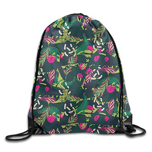 HLKPE Fusion Exotic Jungle Juicy Greens Tropical Palm Drawstring Backpack Travel Bag Gym Outdoor Sports Portable Drawstring Beam Port Backpack for Girl Boys Woman Female Neon Green Fusion