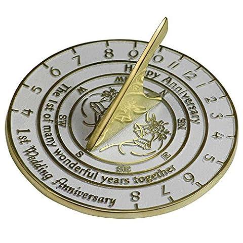Hochzeitstag Geschenk, Englisch Hand Made Sonnenuhr mit Silber, Perle, Rubin oder Goldene Hochzeit Jahrestag Versionen., metall, 1st Anniversary