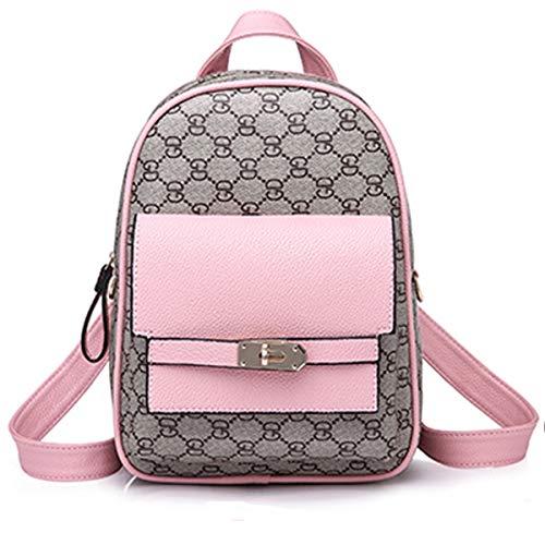 Mode Mini Rucksack Mädchen Leinwand Rucksack Bedruckte Handtaschen Einfache Kleine Tasche,Pink-OneSize (Handtaschen Logo Gucci)