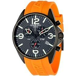 Torgoen Swiss T16304Herren Armbanduhr Chronograph Quarz Pilot mit Schwarz Echt Carbon Faser Zifferblatt und Orange PU Gurt