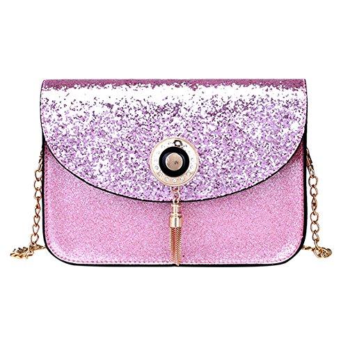 La Cabina Petit Sac à Bandoulière Femmes PU Paillettes Mini Sac Chaîne Tassel Lock Messenger Crossbody Bag Fille