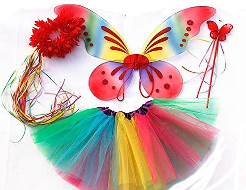 Tante Tina Schmetterling Kostüm Mädchen - 4-teiliges Mädchen Kostüm Schmetterling mit Tüllrock , Flügel , Zauberstab und Haarkranz - Regenbogen - geeignet für Kinder von 2 bis 8 Jahren