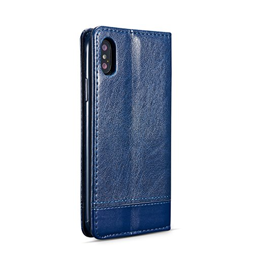 Mixed Color Stitching Pattern Magnetische Verschluss Premium PU Ledertasche mit Card Slots für iPhone X ( Color : Brown ) Blue