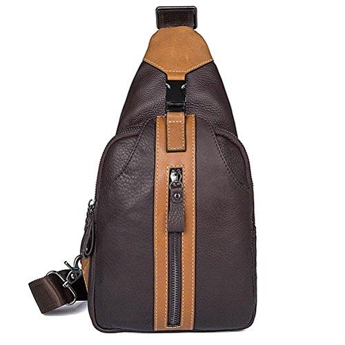 GTUKO JMD Männer Schultertasche Kleine Handyklappe Echtes Leder Sling Bag Männer Messenger Bags Leder Brusttasche Herren Brust Taschen 4007A , Black coffee 1