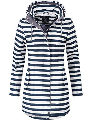Peak Time Damen Übergangs-Mantel Softshelljacke L60013 White/Navy Stripes Gr. XXL