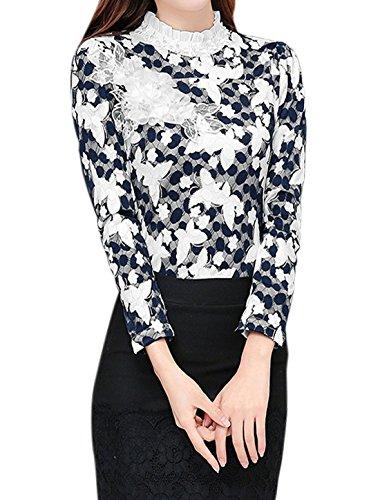 sourcingmap Femme Col Hérissé Fleur Applique Slim Fit Haut Dentelle Blanc