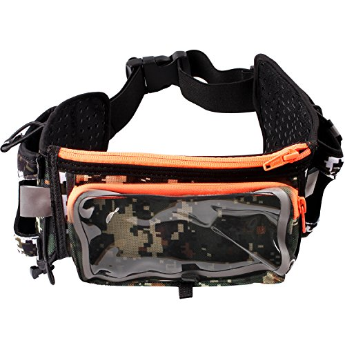 Adjustable Running Belt, Zipper Pockets Water Resistant Waist Bag,with Two 10-Ounce BPA Water Bottles holder Waist Pack for Running Hiking Cycling Climbing Camping Travel Compatible with Most Cell Phones