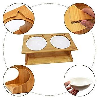 Petilleur Bol pour Chat et Chien Bois Gamelle Haute pour Chat et Chiot avec Support en Bambou (2 Bols, Céramique)