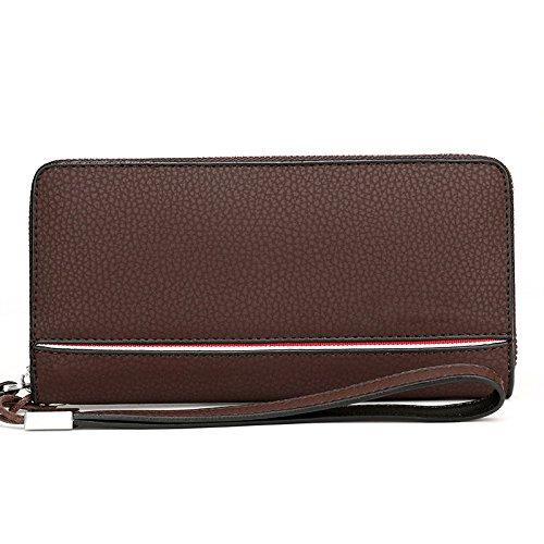 Herrenbrieftasche Clutch Business Casual Große Kapazität Brieftasche Soft-Leder Handtaschen Europäischen Und Amerikanischen Mode Taschen,Red-OneSize