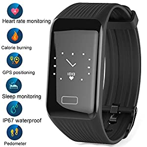 LIGE Smart Watch Pedometer Fitness Tracker English Version GPS Positioning Bluetooth Smart Bracelet Activity Tracker Sleep Monitor Calorie Heart Rate Monitoring Men Woman Unisex
