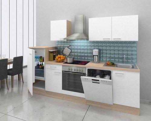 respekta Einbau Küche Küchenzeile Küchenblock 280 cm Eiche Natura weiss Ceran