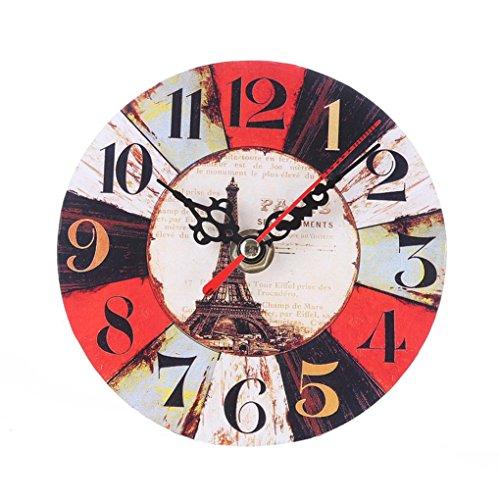 Uhr,Binggong Vintage Style Nicht Tickende Stille Antike Holz Wanduhr Für  Home Kitchen Office Runde Uhr Aus Holz Uhr Kleine Schlafzimmer Uhr  (13*13cm, A)