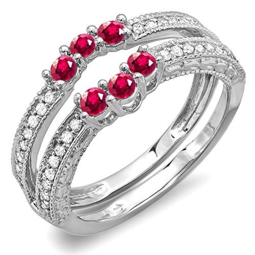 DazzlingRock Collection  -  14 Kt  Weißgold Rundschliff   I-J rot Diamant Rubis  - Diamond Wrap Guard