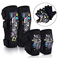 MOVTOTOP Kids Knee and Elbow Pads with Bike Gloves Toddler Protective Gear Set for Skateboard, Roller-Skating, Protective Gear Set for Girls Boys Children