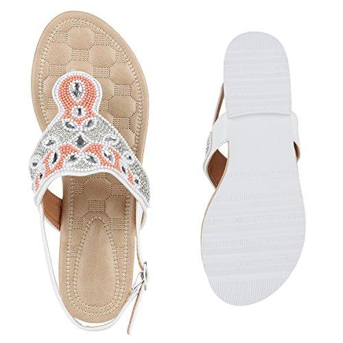 Damen Sandalen Zehentrenner Flats Strass Zierperlen Sommerschuhe Weiß