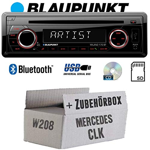 BLAUPUNKT Milano 170 BT - Bluetooth | CD | MP3 | SD | USB Autoradio Radio - Einbauset für Mercedes CLK W208 - JUST SOUND best choice for caraudio
