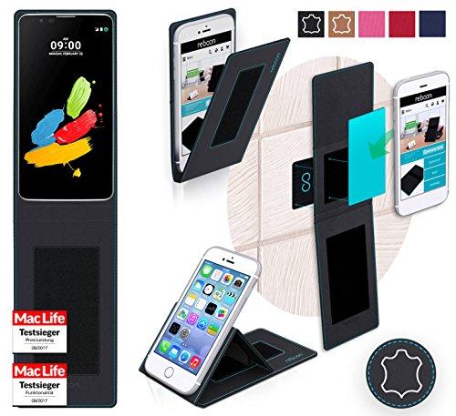reboon Hülle für LG Stylus 2 (DAB+) Tasche Cover Case Bumper   Schwarz Leder   Testsieger
