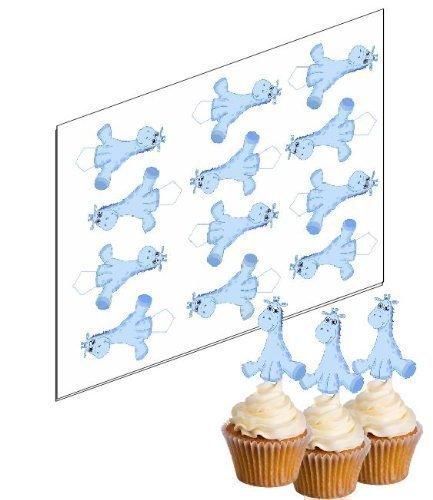 12 Blau Giraffe Cupcake Stäbchen 'Aufstehen' reispapier kuchendekoration (ungeschnitten)