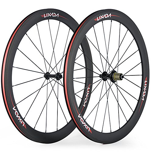 Lixada Full Carbon Fiber Bicycle Wheel 50 mm 700C Wheelse 8 / 9 / 10 / 11 Compatible Speeds 20 / 24 Holes