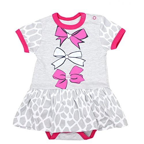 Sommermode Baby: Baby Body-Kleid mit Print Mädchen Sommerkleid 100% Baumwolle Outfit Kurzarm-Body
