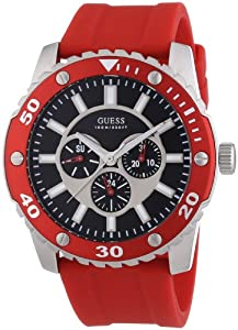 Reloj Guess W10616G4 de cuarzo para hombre con correa de silicona, color rojo de Guess