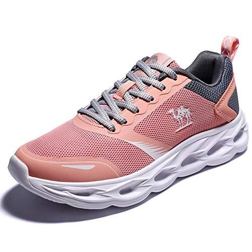 CAMEL CROWN Fitnessschuhe Damen Laufschuhe Atmungsaktiv Turnschuhe Freizeit Sportschuhe Wanderschuhe Gym 4UK=37.5EU Rosa - Letzte Version