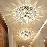 FHRIJGGV Deng LED Plafoniera, Moderna da Incasso a Incasso, da soffitto e da Parete Crystal Rotonda Effetto Leggero per corridoi, luci vestibolari Creative
