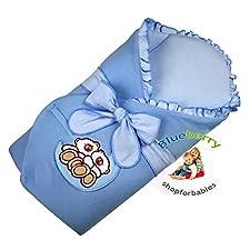 BlueberryShop Velours Bestickte Wickeldecke Decke Bettdecke für Neugeborene Baby mit Ausgesteifter Rückseite Baumwolle ( 0-3m ) ( 78 x 78 cm ) Blau