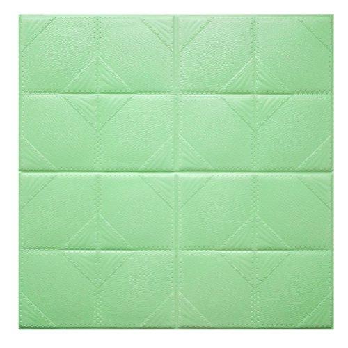 3D Brick Wand Aufkleber winomo Selbstklebendes Wand Fliesen Schaumstoff abnehmbarer Tapete Hellgrün wasserdicht 60x 60cm