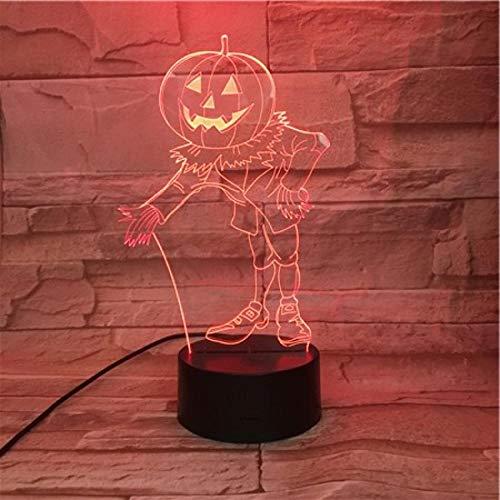 Halloween Kürbis Kopf 7 Farbe Illusion Lampe Kinder Usb Berühren Sie 3D Tischlampe Halloween Weihnachten Kinder Geschenk Schlafzimmer Nachttischlampe ()