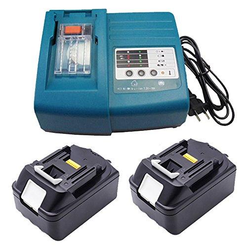 Preisvergleich Produktbild Werkzeug Akku 18V und 1,5A Ladegerät für Makita DC 18 RC / DC 18 RA Ladegerät & 2 x Ersetzenakku Makita BL 1830 Akku Li-Ionen 3,0 Ah