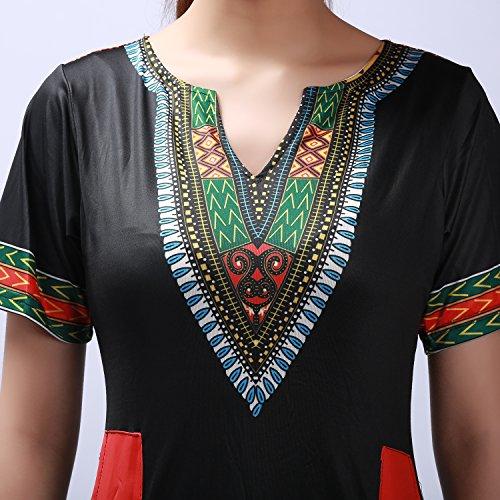 LAEMILIA Femme Robe Mini Manches Courtes Imprimé Fleur Eté Casual Robe Party Clubwear Rétro Vintage Noir