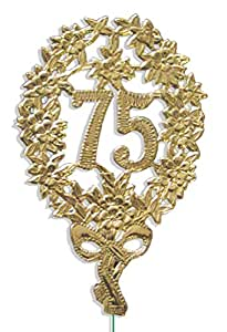 Walter Kunze Design Dresden Party Anniversary Jubilee Number 75 with Wire, Gold